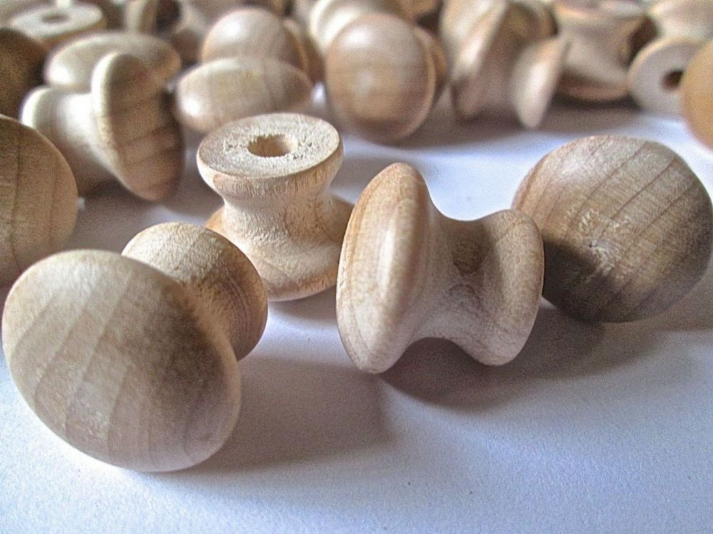 Small wooden drawer pulls with hole knobs furniture